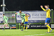 Forest Green Rovers Shamir Mullings(18) and celebrates, 5-5 during the Vanarama National League match between Forest Green Rovers and Torquay United at the New Lawn, Forest Green, United Kingdom on 1 January 2017. Photo by Shane Healey.