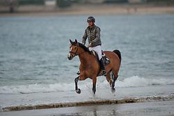 Guerdat Steve, SUI, Bianca<br /> Beach training<br /> Longines Jumping International de La Baule 2017<br /> © Hippo Foto - Dirk Caremans<br /> Guerdat Steve, SUI, Bianca