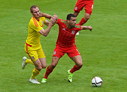 CARDIFF, WALES - Friday, June 5, 2015: Wales' Hal Robson-Kanu and Shaun MacDonald during a practice match at the Cardiff City Stadium ahead of the UEFA Euro 2016 Qualifying Round Group B match against Belgium. (Pic by David Rawcliffe/Propaganda)