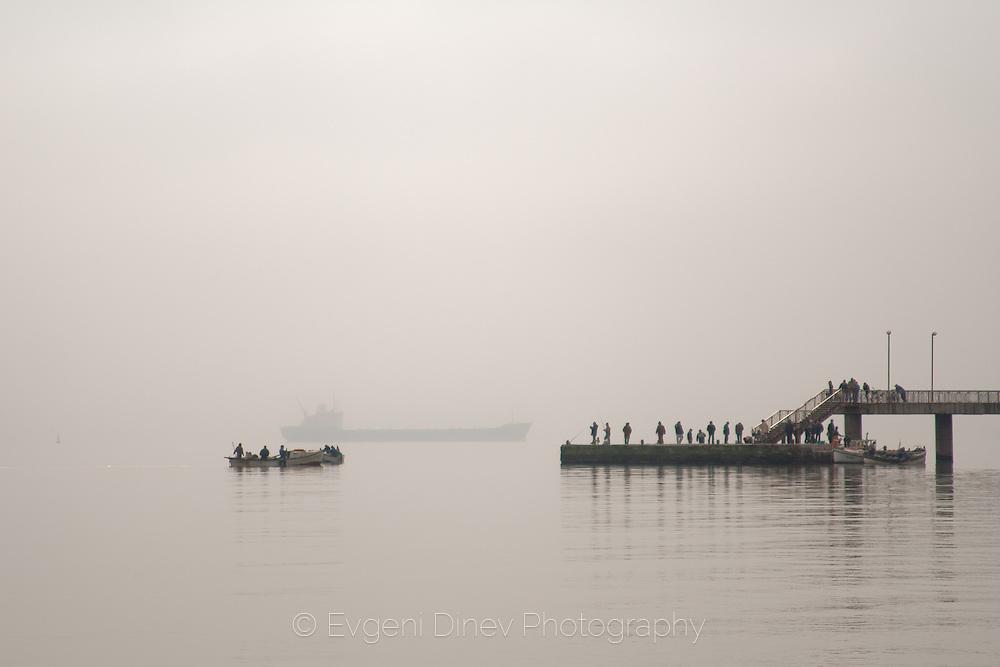 Fishermen on Burgas bridge