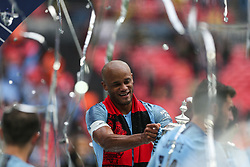 Vincent Kompany of Manchester City celebrates with the trophy - Mandatory by-line: Arron Gent/JMP - 18/05/2019 - FOOTBALL - Wembley Stadium - London, England - Manchester City v Watford - Emirates FA Cup Final