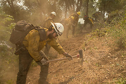 July 28, 2018 - California, U.S. - Hotshots working on the line. The Ferguson Fire now in its 20th day, started July 13 on the Sierra National Forest. The fire is now 62,883 acres with 39 percent containment and 3,558 personnel that are currently engaged on the fire which include 203 engines, 43 water tenders, 14 helicopters, 95 crews, 5 masticators and 62 dozers. There has been 2 fatalities and 9 injuries to date. 1 structure has been destroyed. (Credit Image: © Rubicon/Cal Fire via ZUMA Wire/ZUMAPRESS.com) (Credit Image: © Rubicon/Cal Fire via ZUMA Wire/ZUMAPRESS.com)