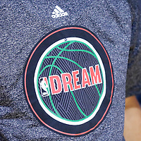 19 January 2015: Close view of NBA logo Dream, homage to Martin Luther King Jr. day on Boston Celtics guard Avery Bradley (0) during the Los Angeles Clippers 102-93 victory over the Boston Celtics, at the Staples Center, Los Angeles, California, USA.