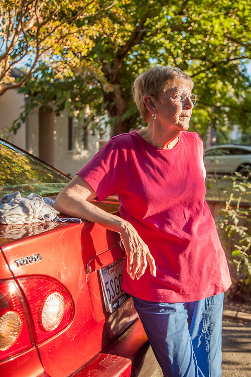 """The paint on my car is flaking off...I can't decide to paint it or to swallow my pride and drive it until it quits.""  MaryAnn Rulli, in front of her home in Calistoga."