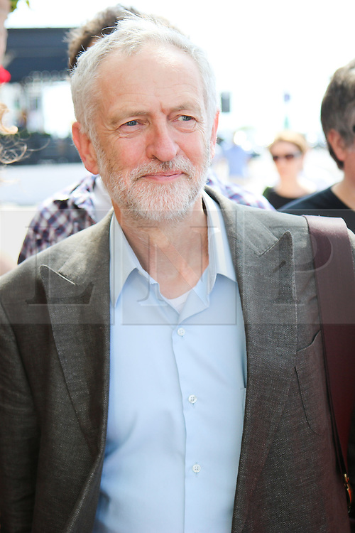© Licensed to London News Pictures. 18/07/2015. Brighton, UK. Jeremy Corbyn, MP for Islington North and  Candidate for the Labour Leader position arrives for the Brighton Hustings event. today July 18th 2015. Photo credit : Hugo Michiels/LNP