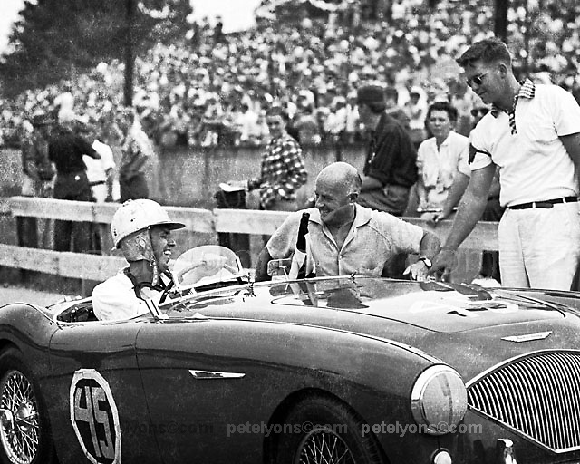 Donald Healey congratulates a happy customer
