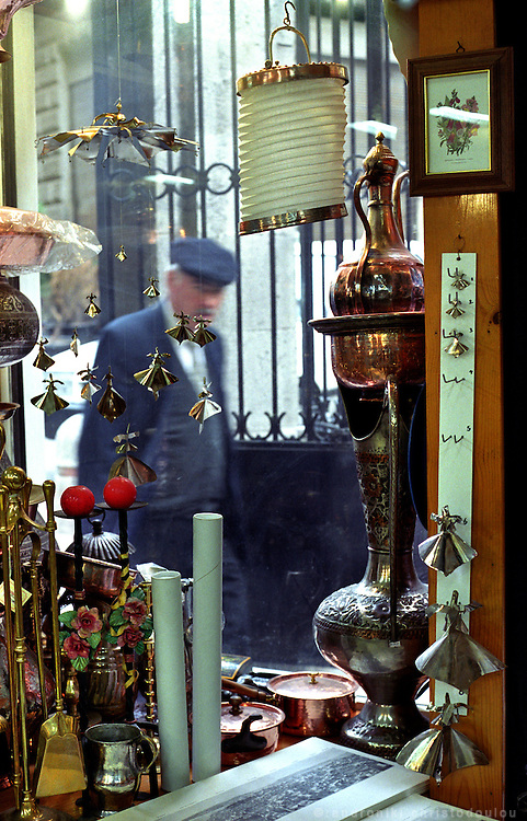 One of the many antique shops in Beyoglu, off from Istiklal street..ISTANBUL