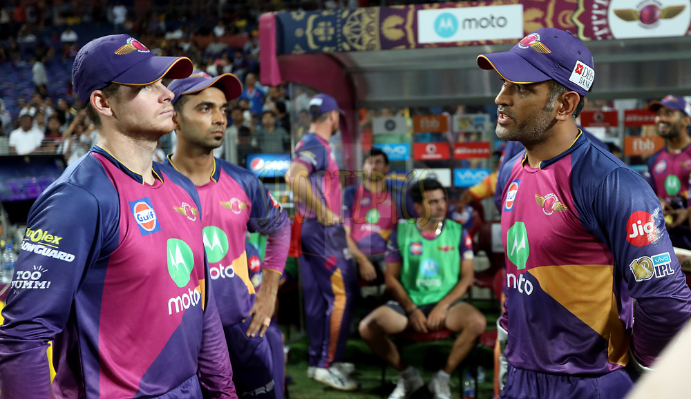 Rising Pune Supergiant captain Steven Smith  and MS Dhoni of Rising Pune Supergiant before the start of the second innings during match 30 of the Vivo 2017 Indian Premier League between the Rising Pune Supergiants and the Kolkata Knight Riders  held at the MCA Pune International Cricket Stadium in Pune, India on the 26th April 2017<br /> <br /> Photo by Sandeep Shetty - Sportzpics - IPL