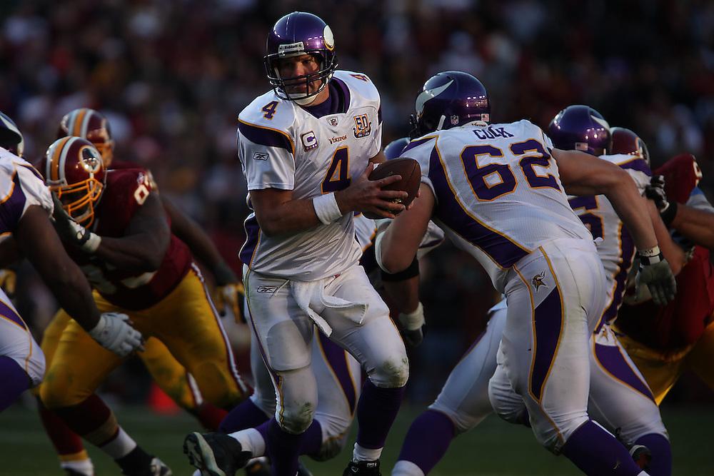 Landover, Md., Nov. 28, 2010 - Redskins vs. Vikings - #4 Brett Favre hands off in the 4th quarter. (Photo by Jay Westcott/TBD)