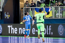 Players of Kazakhstan celebrate goal during futsal semifinal match between National teams of Kazakhstan and Spain at Day 9 of UEFA Futsal EURO 2018, on February 8, 2018 in Arena Stozice, Ljubljana, Slovenia. Photo by Urban Urbanc / Sportida