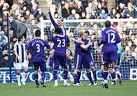 Photo: Steve Bond/Richard Lane Photography. West Bromwich Albion v Newcastle United. Barclays Premiership. 07/02/2009. Peter Lovenkrands (lifted) celebrates