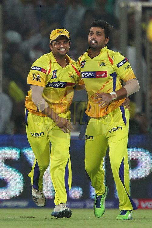 Suresh Raina and Murali Vijay celebrate the wicket of  Aditya Tare during the qualifier 1 match of the 2013 Pepsi Indian Premier League between The Chennai Superkings and the Mumbai Indians held at the Feroz Shah Kotla Stadium, Delhi on the 21st May 2013..Photo by Ron Gaunt-IPL-SPORTZPICS    ..Use of this image is subject to the terms and conditions as outlined by the BCCI. These terms can be found by following this link:..http://www.sportzpics.co.za/image/I0000SoRagM2cIEc