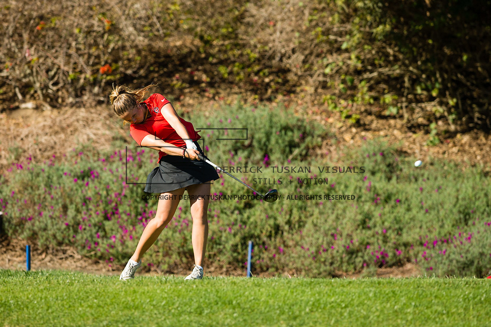 28 March 2018: Sara Kjellker tees off on the twelfth hole during the final round of match play against UCLA at it's annual March Mayhem Tournament at the Farms Golf Club in Rancho Santa Fe, California.<br /> More game action at sdsuaztecphotos.com