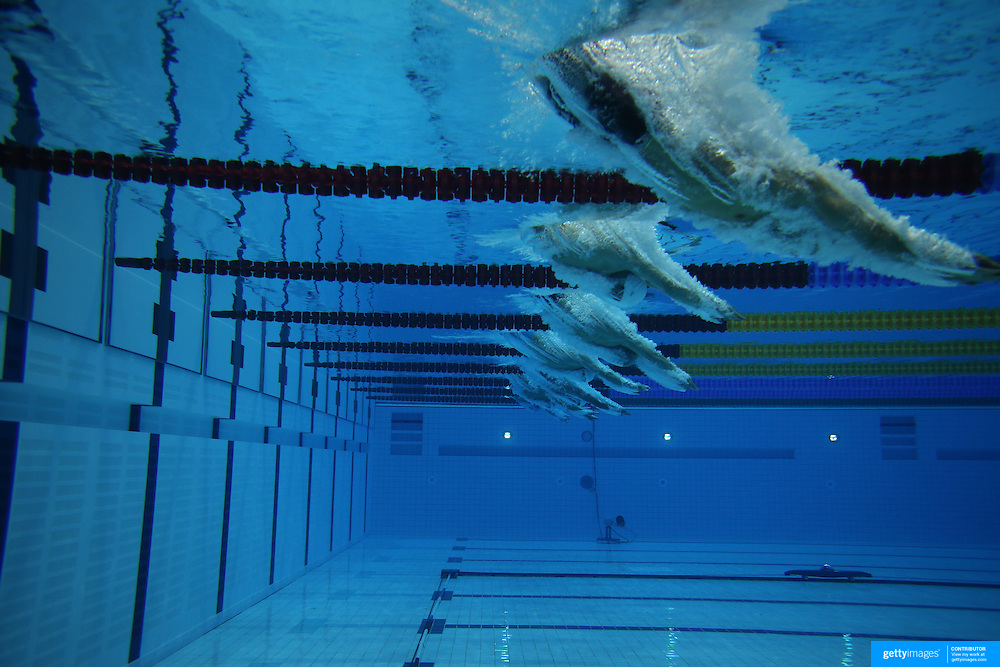 an underwater view of the start of the mens 50m freestyle heats at the aquatic centre - Olympic Swimming Pool Underwater