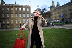 © Licensed to London News Pictures. 21/02/2019. London, UK. JUSTINE GREENING MP seen waving after speaking to media in Westminster, London. Conservative and Labour MPs have resigned form their respective parties . and joined newly formed The Independent Group, a breakaway campaign group formed by seven defecting Labour MPs. Photo credit: Ben Cawthra/LNP