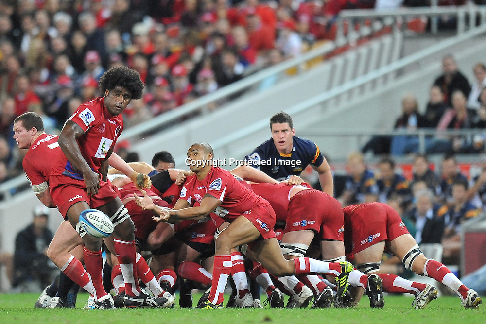 Will Genia passes from the base of the scrum for the Reds during action from Super 15 rugby (Round 16) - Reds v Brumbies played at Suncorp Stadium, Brisbane, Australia on Saturday 4th May 2011 ~ Photo : Steven Hight (AURA Images) / Photosport
