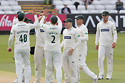 WICKET - Leicestershire celebrate the wicket of Cameron Steel during the Specsavers County Champ Div 2 match between Durham County Cricket Club and Leicestershire County Cricket Club at the Emirates Durham ICG Ground, Chester-le-Street, United Kingdom on 18 August 2019.