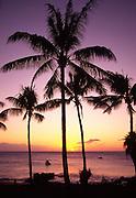 Sunsset with fishing boat, Kepuhi Bay, Kaluakoi, Molokai, Hawaii<br />