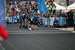 November 12, 2017 - Athens, Attica, Greece - Gkelaouzos Konstantinos crosses the finish line at the Panathenaic stadium at the 35th Athens Classic Marathon in Athens, Greece, November 12, 2017. (Credit Image: © Giorgos Georgiou/NurPhoto via ZUMA Press)