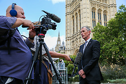 © Licensed to London News Pictures. 04/009/2019. London, UK. Joint Executive Secretary of the 1922 Committee NIGEL EVENS speaks with media in College Green. On Monday 3 Sept 2019, MP's voted by 328 -301 with a majority of 27 to take control of the House of Commons agenda for Tuesday 4 Sept 2019. Photo credit: Dinendra Haria/LNP