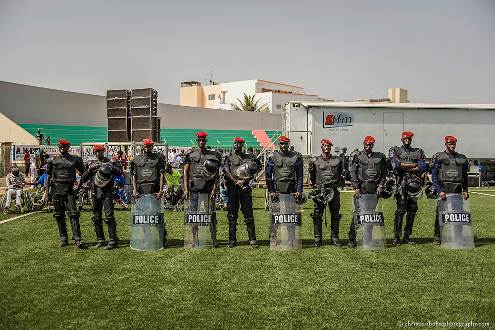 Demba Diop stadium, Dakar, April 5, 2015. Police forces are always present to prevent  clashed between the fans of opposed wrestlers at the end of a fight.