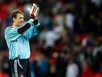 Photo: Richard Lane/Sportsbeat Images.<br />England v Germany. International Friendly. 22/08/2007. <br />Germany's Jens Lehmann celebrates victory.