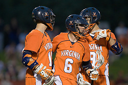Virginia attackman Ben Rubeor (6) celebrates with Virginia midfielder Jack Riley (10) after scoring against Maryland.  The #3 ranked Virginia Cavaliers defeated the #8 ranked Maryland Terrapins 11-8 in the semi finals of the Men's 2008 Atlantic Coast Conference tournament at the University of Virginia's Klockner Stadium in Charlottesville, VA on April 25, 2008.