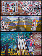 #onthewall by the NYC Mural Arts Project seen on 34th street between 10th and 9th Ave.  The Lead artist of the work is Andrew Frank Baer, who worked with a group of other artists to conceptualize, design and paint the mural. It was created in collaboration with NYC Dept. of Health & Mental Hygiene and others.
