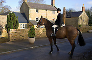 Rider outside Westcote Inn Pub, Nether Westcote, Oxfordshire / Gloucestershire border, The Cotswolds, UK