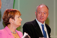 Tessa Jowell MP, Secretary of State for Culture, Media and Sport, looks on as Ken Livingstone, Mayor of London, speaks at the TUC 2005