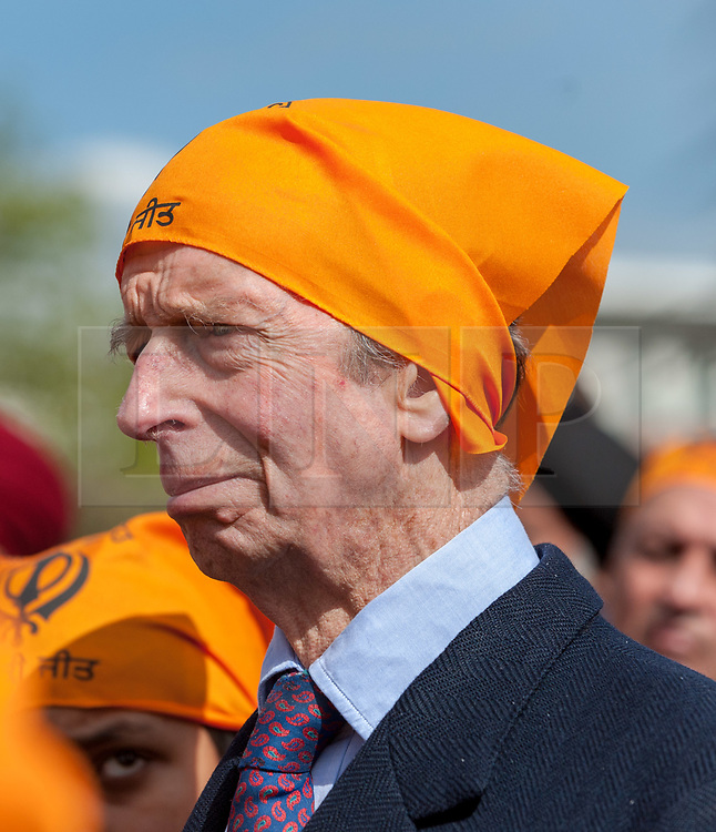 © Licensed to London News Pictures. 02/04/2019. Bristol, UK. HRH THE DUKE OF KENT KG, unveils the Bristol Sikh War Memorial and Remembrance Garden at the official opening in Bristol's Castle Park, to honour an estimated 83,000 Sikh soldiers who lost their lives in the First and Second World Wars, and more than 100,000 who were seriously wounded. The garden is close to the ruins of St Peter's Church and has been organised by the Bristol Sikh War Memorial Committee to be a peaceful way to remember the Sikh lives lost during the two conflicts. The idea was formed four years ago when Dilawer Singh Potiwal, the project leader of the committee, was attending a commemorative event with long-serving former Labour councillor Ron Stone, who died in 2015, and they had an idea that the Bristol Sikh community do something for their ancestors. All except the architects involved with the war memorial did so as volunteers. Photo credit: Simon Chapman/LNP