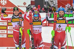 17.02.2019, Aare, SWE, FIS Weltmeisterschaften Ski Alpin, Slalom, Herren, Siegerpräsentation, im Bild v.l. Silbermedaillengewinner Michael Matt (AUT), Goldmedaillengewinner und Slalom Weltmeister Marcel Hirscher (AUT), Bronzemedaillengewinner Marco Schwarz (AUT) // f.l. silver medalist Michael Matt of Austria, gold medalist and world champion Marcel Hirscher of Austria, bronze medalist Marco Schwarz of Austria during the winner presentation for the men's Slalom of FIS Ski World Championships 2019. Aare, Sweden on 2019/02/17. EXPA Pictures © 2019, PhotoCredit: EXPA/ Erich Spiess
