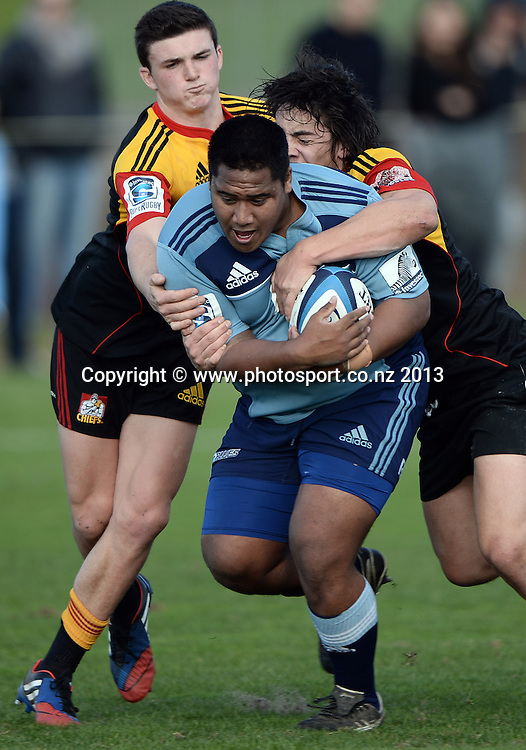Sacred Heart prop Mike Tamoaieta in action. Blues U18 Schools v Chiefs U18 Schools. St Kentigern College, Auckland, New Zealand on Tuesday 23 July 2013. Photo: Andrew Cornaga/Photosport.co.nz