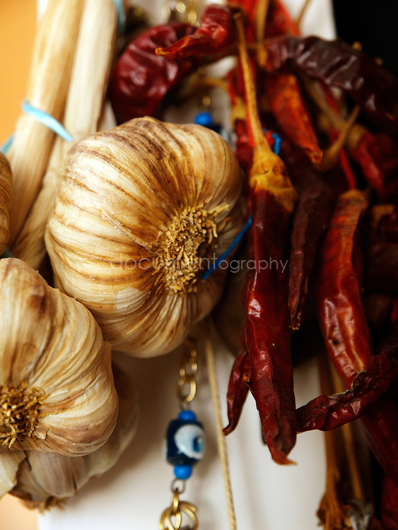 Garlic and peppers in the kitchen Palestinian singer Reem Kelani in London.
