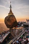 Sunset at Kyaiktiyo Pagoda (Golden rock)). Mon State, Myanmar