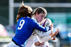 Jess Breach of England Women is tackled by Pauline Bourdon of France Women - Mandatory by-line: Robbie Stephenson/JMP - 10/02/2019 - RUGBY - Castle Park - Doncaster, England - England Women v France Women - Women's Six Nations