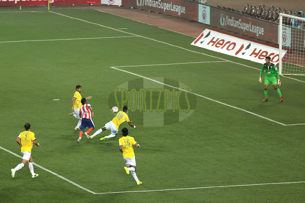 match view from gallery during match 13 of the Hero Indian Super League between Atl&eacute;tico de Kolkata and Kerala Blasters FC held at the Salt Lake Stadium in Kolkata, West Bengal, India on the 26th October 2014.<br /> <br /> Photo by:  Saikat Das/ ISL/ SPORTZPICS