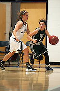 Rice guard Leah Larivee (1) dribbles the ball past Mount Mansfield forward Devyn Beliveau-Gale (20) during the girls basketball game between the Rice Green knights and the Mount Mansfield Cougars at MMU High School on Friday night December 4, 2015 in Jericho. (BRIAN JENKINS/for the FREE PRESS)