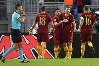 Edin Dzeko of AS Roma (2R) celebrates with team mates Lorenzo Pellegrini (2L), Davide Santon (L) and Daniele De Rossi after scoring the goal  of 1-0 during the Uefa Champions League 2018/2019 Group G football match between AS Roma and CSKA Moscow at Olimpico stadium Allianz Stadium, Rome, October, 23, 2018 <br />  Foto Andrea Staccioli / Insidefoto