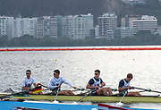 "Rio de Janeiro. BRAZIL.   GBR M4X, leave the boating pontoons for a training session. 2016 Olympic Rowing Regatta. Lagoa Stadium,<br /> Copacabana,  ""Olympic Summer Games""<br /> Rodrigo de Freitas Lagoon, Lagoa.   Tuesday  09/08/2016 <br /> <br /> [Mandatory Credit; Peter SPURRIER/Intersport Images]"