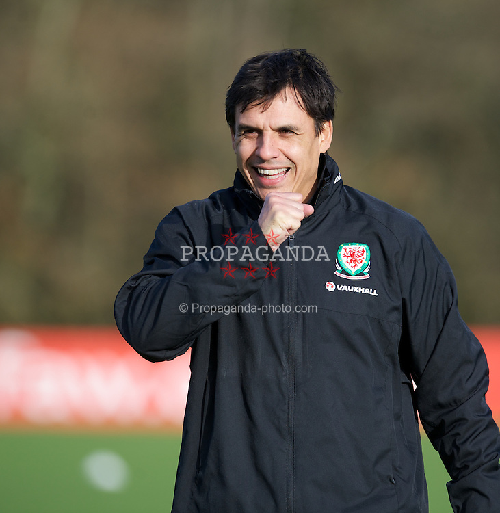 CARDIFF, WALES - Monday, February 4, 2013: Wales' manager Chris Coleman during a training session at the Vale of Glamorgan Hotel ahead of the International Friendly against Austria. (Pic by David Rawcliffe/Propaganda)