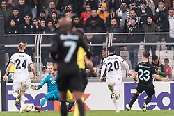 Marcus Antonsson of Malmo FF (R) scores during the UEFA Europa League group I match between between Besiktas AS and Malmo FF at the Besiktas Park on December 13, 2018 in Istanbul, Turkey