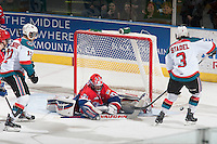 KELOWNA, CANADA - MARCH 7: Tyson Verhelst #31 of Spokane Chiefs makes a save against the Kelowna Rockets on March 7, 2015 at Prospera Place in Kelowna, British Columbia, Canada.  (Photo by Marissa Baecker/Shoot the Breeze)  *** Local Caption *** Tyson Verhelst;