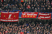 Liverpool fans during the Capital One Cup match between Chelsea and Liverpool at Stamford Bridge, London, England on 27 January 2015. Photo by Phil Duncan.