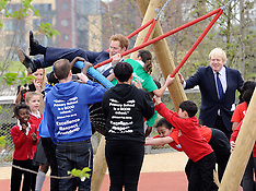 APR 04 2014 Prince Harry & Boris visit the new Queen Elizabeth Olympic Park