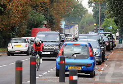 "© Licensed to London News Pictures. 14/10/2013<br /> Traffic on Tonbridge Road, Hildenborough,Kent.<br /> Double Olympic gold medallist Dame Kelly Holmes is facing opposition to her plans to open a cafe in a Kent village where she grew up. <br /> She has put in an application under business name ""Double Gold Enterprise Ltd""  to Tonbridge and Malling Borough Council to redevelop a former newsagent's shop at 152-154  Tonbridge Road, Hildenborough,Kent.<br /> Some residents have said parking will be an issue as it is on a main road.<br /> The application is due to be discussed by Tonbridge and Malling Borough Council on 24 October.<br /> Photo credit :Grant Falvey/LNP"