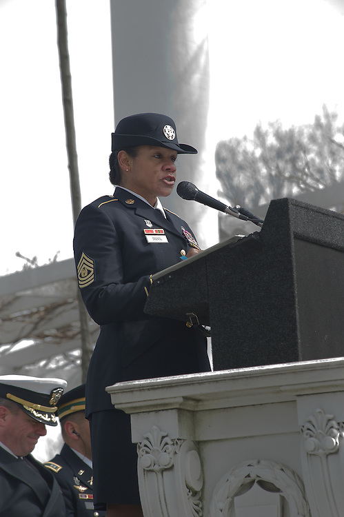 ARLINGTON, Virginia (March 28, 2011) -- Command Sergeant Major Donna Brock, Senior Enlisted Leader, U.S. Army speaks during a remembrance ceremony at Arlington National Ceremony.  The event was held for family from around the country and for service members from all branches who gathered to honor 262 fallen medical service members who died in battle.  The Military Health System has hosted this event since 2009 and serves to bring families together who've lost loved ones that served as doctors, nurses, medics, corpsman and other medical personnel.  Photo by Johnny Bivera
