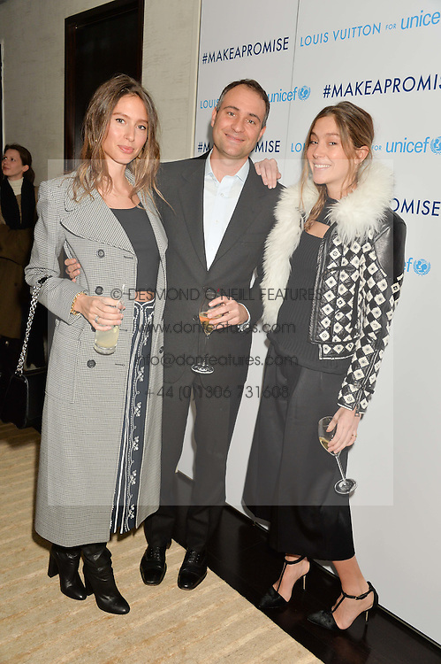 Left to right, BEN & JEMIMA GOLDSMITH and QUENTIN JONES at the Louis Vuitton for Unicef Event #MAKEAPROMISE held at The Apartment, 17-20 New Bond Street, London on 14th January 2016.