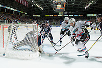 KELOWNA, CANADA - JANUARY 22: Tomas Soustal #15 of Kelowna Rockets tries to score a goal on Evan Sarthou #31 of Tri City Americans on January 22, 2016 at Prospera Place in Kelowna, British Columbia, Canada.  (Photo by Marissa Baecker/Shoot the Breeze)  *** Local Caption *** Tomas Soustal; Evan Sarthou;