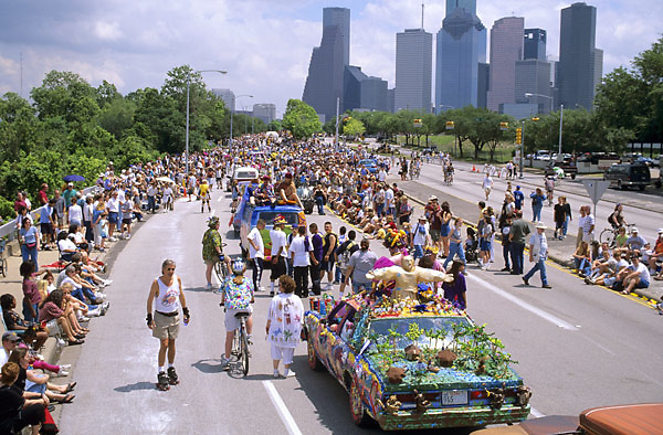 Stock photo of the parade passing below on the street